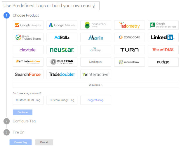 Google Tag Manager predefined Tags and Custom Tags