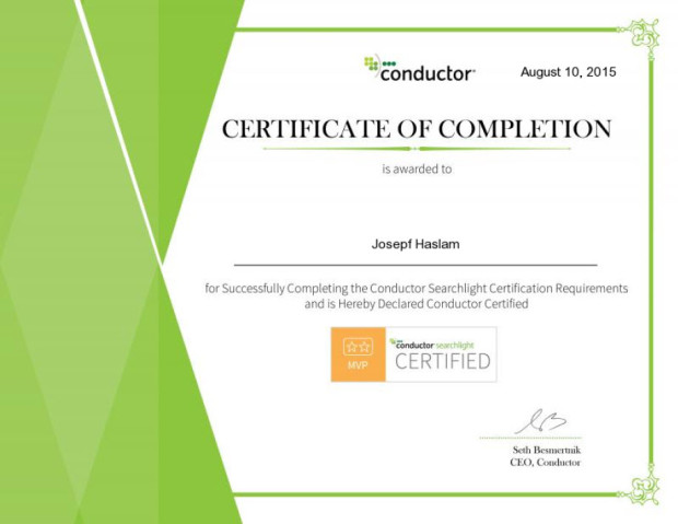 Josepf Haslam Conductor Certification